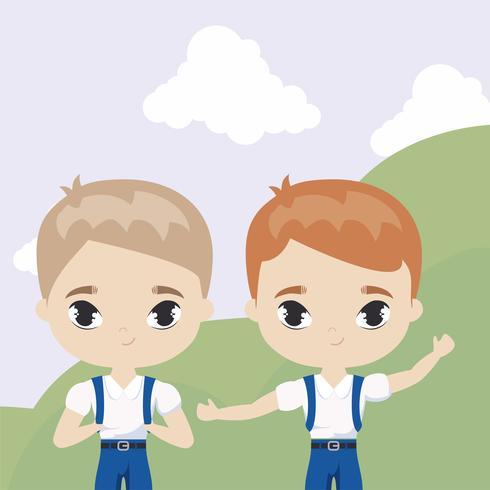 lindos niños pequeños estudiantes en la escena del paisaje vector