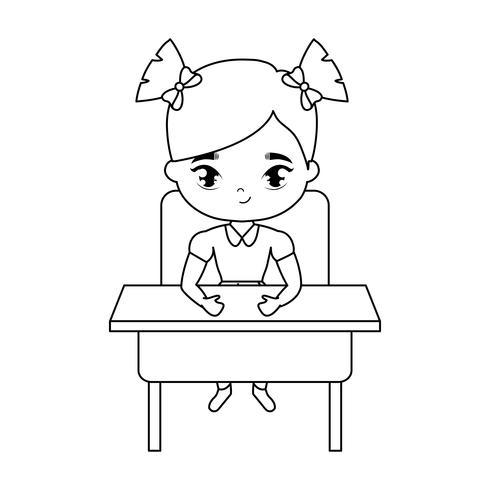kleines Studentenmädchen, das in der Schulbank sitzt