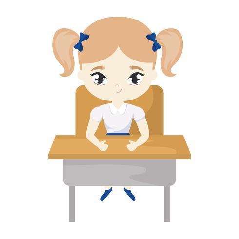 little student girl sitting in school desk vector