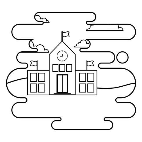 schoolgebouw gevel in landschapsscène vector