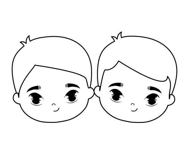 têtes de personnages d'avatar mignons petits enfants