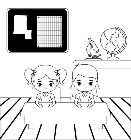 niñas estudiantes poco en la escena del aula vector