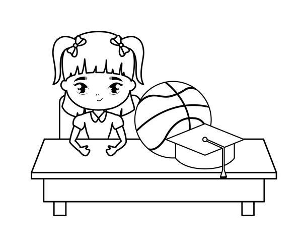 ragazza dello studente che si siede nello scrittorio della scuola con istruzione dei rifornimenti vettore
