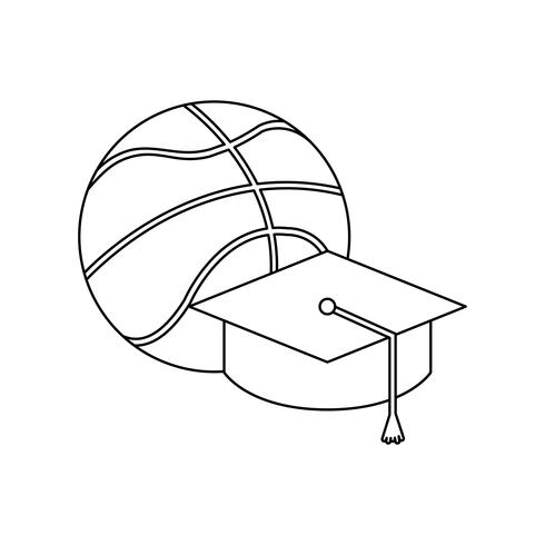 hat graduation with basketball balloon