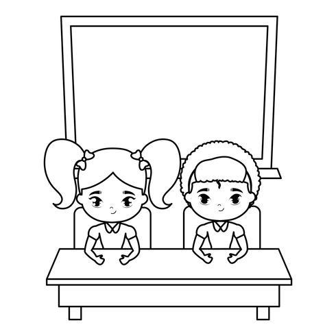mignons petits étudiants dans un bureau avec école conseil