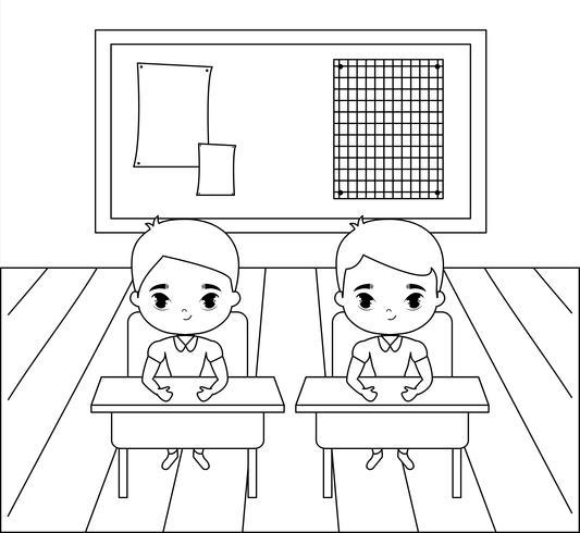 kleiner Student sitzt in der Klassenzimmerszene vektor