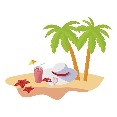Sommerstrandszene mit Baumpalmen und weiblichem Hut