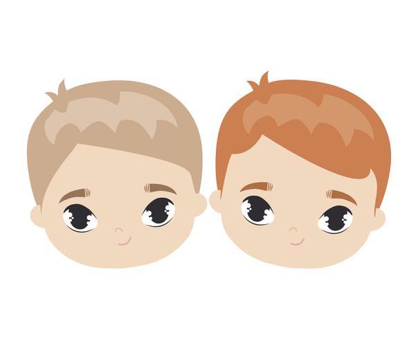 cabeças de caráter de avatar bonitinho crianças