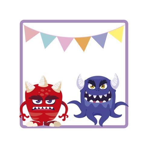 Marco cuadrado con divertidos monstruos y guirnaldas colgando.