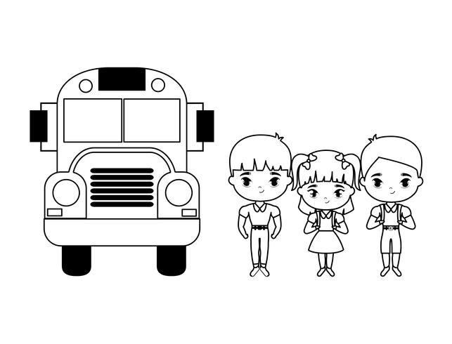 scuola di autobus con un gruppo di piccoli studenti vettore