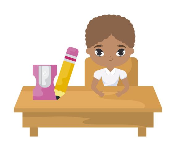 student boy afro sitting in school desk with supplies education vector