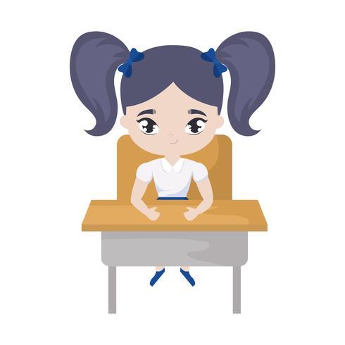 piccola studentessa seduta nel banco di scuola