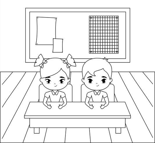 pequeños estudiantes en la escena del aula vector