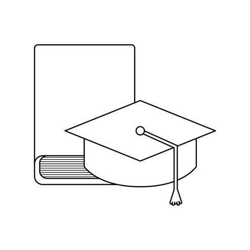 libro della biblioteca con laurea cappello vettore