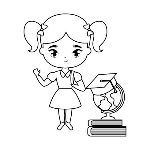 schattig klein student meisje met benodigdheden school vector