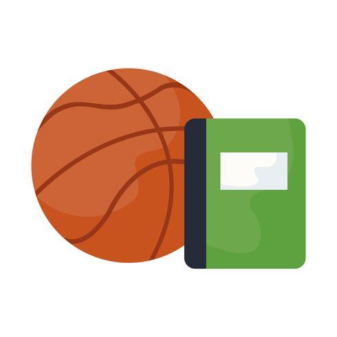 escola de livro didático com balão de basquete