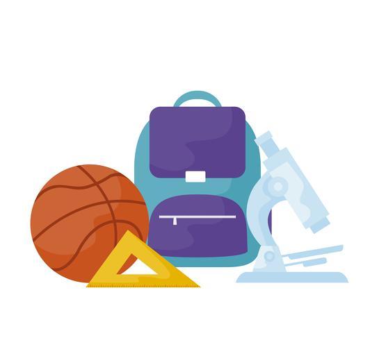 mochila escolar con útiles escolares vector