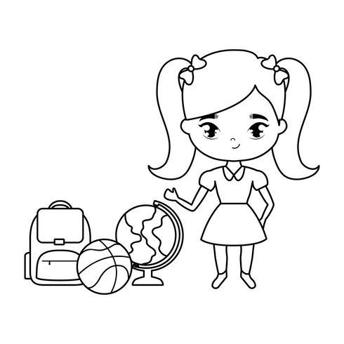 linda niña estudiante con útiles escolares vector