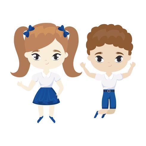 lindo personaje de avatar de pequeños estudiantes vector