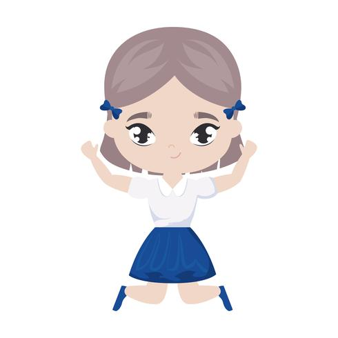 cute little student girl avatar character