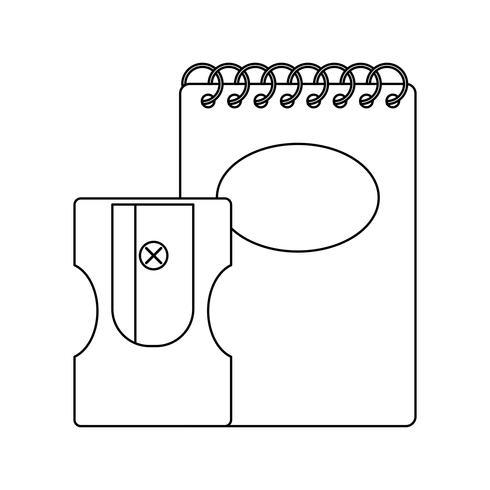 carnet de notes avec aiguiseur vecteur