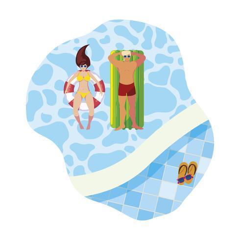 jovem casal com colchão de flutuador na piscina vetor