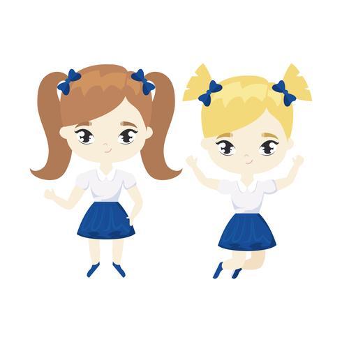 personagem de avatar bonitinho estudante meninas vetor