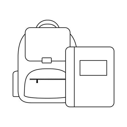 oferta de bolsa de escola com notebook vetor