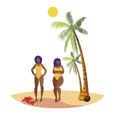 couple de jeunes filles afro sur la scène d'été de la plage vecteur
