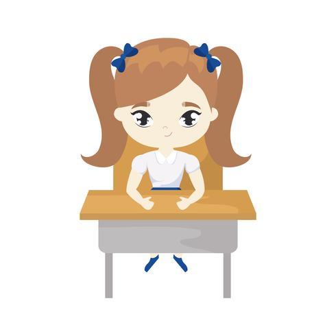 liten studentflicka som sitter i skolan