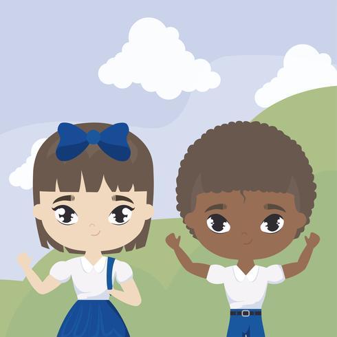 pequeños estudiantes lindos en la escena del paisaje vector