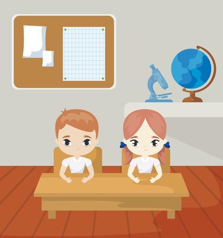 kleine studenten in de klas scène