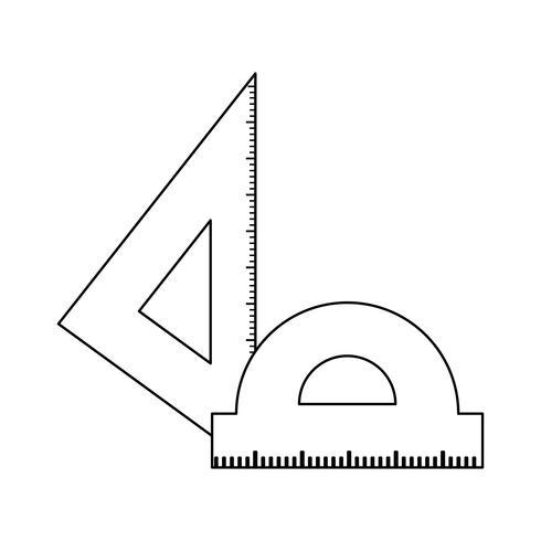 Triángulo con transportador reglas icono aislado
