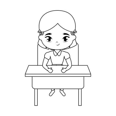 niña estudiante sentada en el escritorio de la escuela