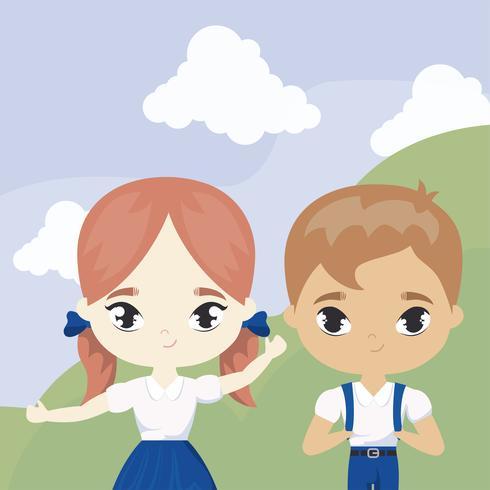cute little students in landscape scene