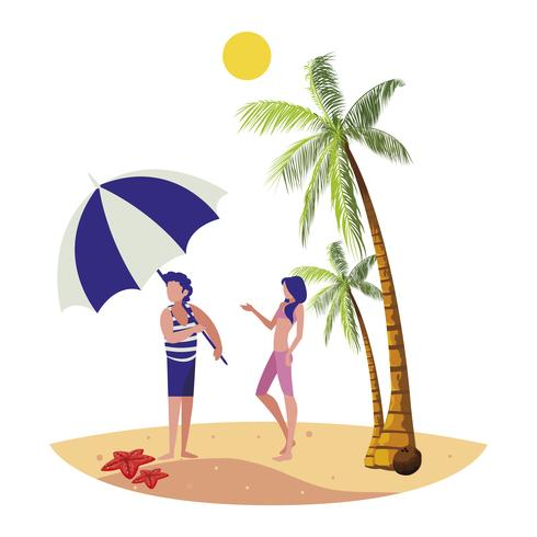 jovem rapaz com mulher na cena do verão praia
