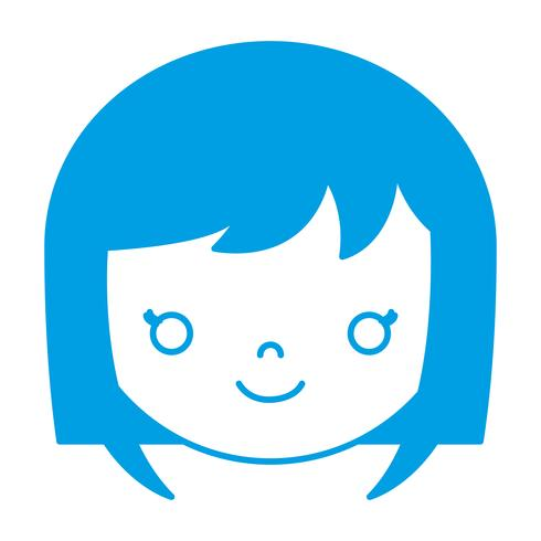 cartoon woman face icon