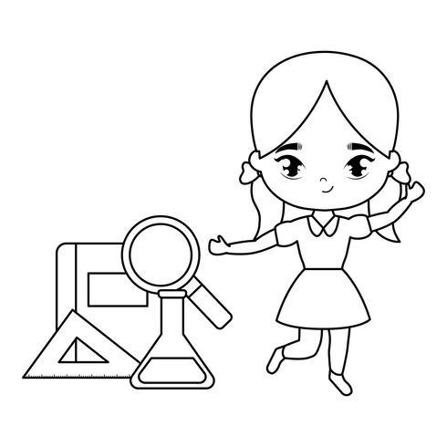 süße kleine Studentin mit Lieferungen Schule vektor