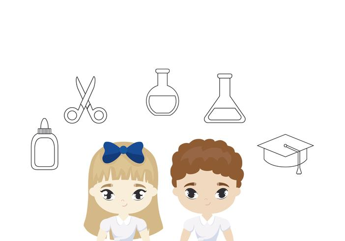 cute little students with supplies school vector
