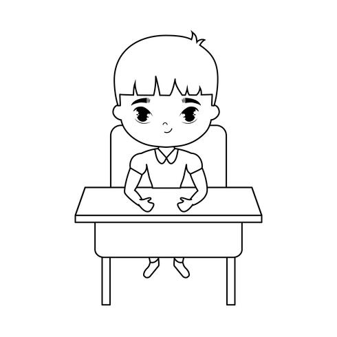 niño pequeño estudiante sentado en el escritorio de la escuela vector