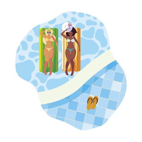 Hermosas chicas interraciales con colchón flotador en agua. vector
