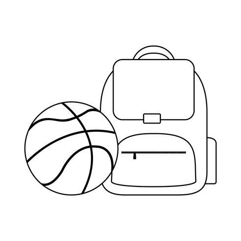 mochila escolar con balón de baloncesto vector
