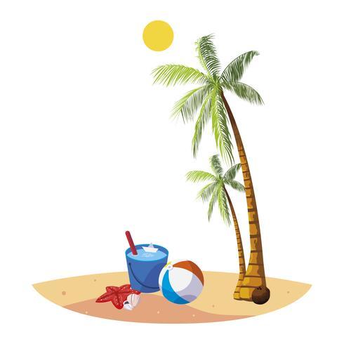 praia de verão com palmas e cena de balde de água vetor