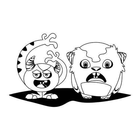 divertidos monstruos pareja comic personajes monocromo vector