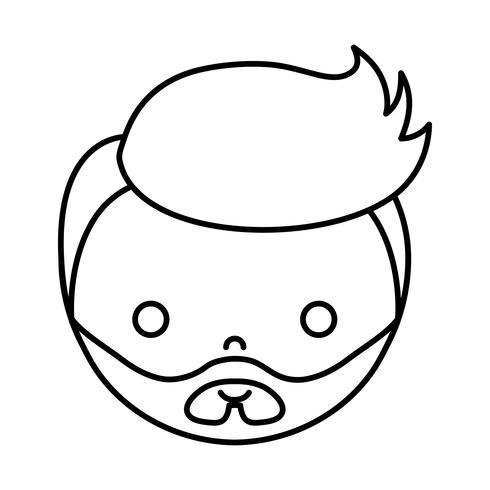 cartoon boy face icon vector