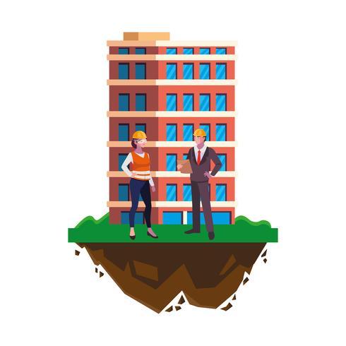 ingenieur met vrouwelijke bouwer en gebouw