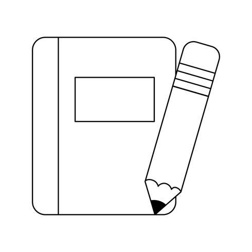 Lehrbuch Schule mit Bleistift isoliert Symbol