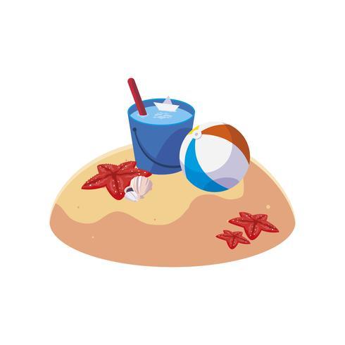 Playa de arena de verano con escena de cubo de agua