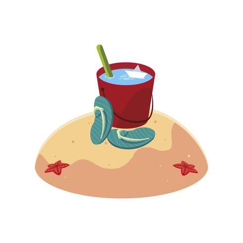 Playa de arena de verano con escena de cubo de agua vector