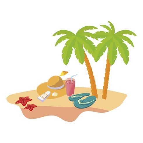Escena de playa de verano con palmeras y sombrero de paja vector